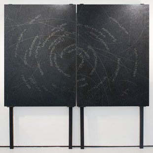 Willem Boshoff   Noli Turbare Circulos Meos   2009   Belfast Black Granite   140 x 100 x 4 cm Each   Edition of 5