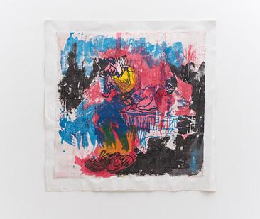 Gareth Nyandoro | Ini Natino | 2018 | Ink on Paper, Mounted on Canvas (Kuchekacheka) | 98 x 99 cm