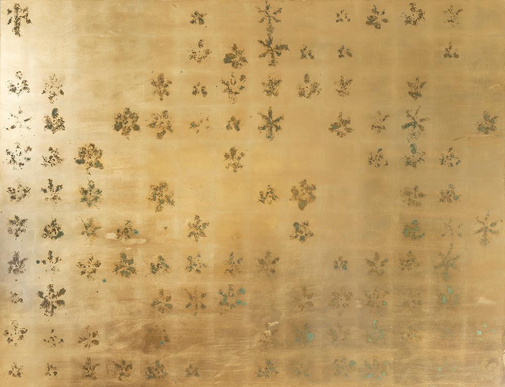 Pierre Vermeulen | 154 | 103 Hair Orchid Print | 2017 | Gold Leaf Imitate on Aluminium, Sweat | 150 x 195 cm