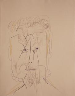 Simon English | Lay Head | 2013 | Mixed Media on Paper | 36.5 x 28 cm
