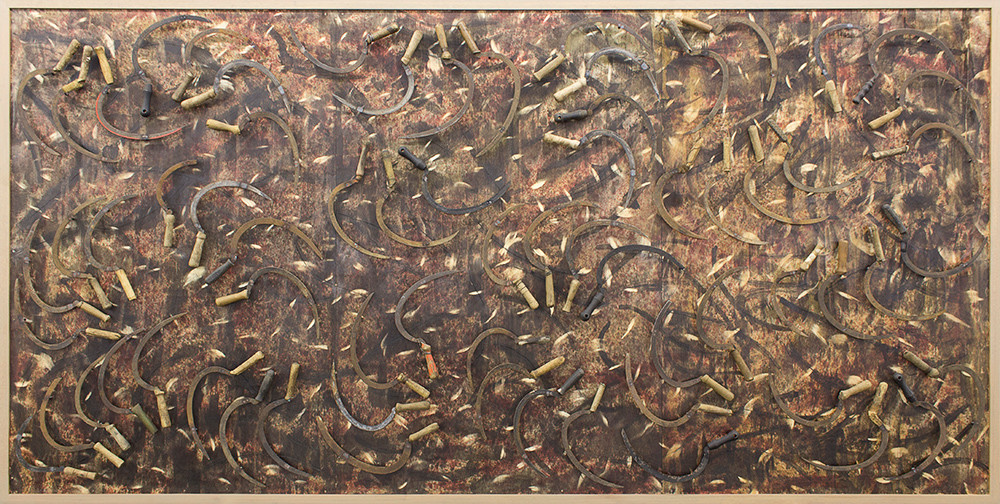 Willem Boshoff   Reap the Whirlwind   2015   Wood and Farmer's Sickles   187 x 373 x 7 cm