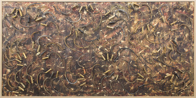 Willem Boshoff | Reap the Whirlwind | 2015 | Wood and Farmer's Sickles | 187 x 373 x 7 cm