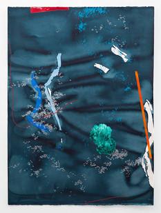 Mongezi Ncaphayi   Wayfaring Field II   2018   Indian Ink, Watercolour and Acrylic on Cotton Paper   140 x 100 cm