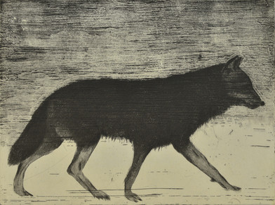 Fiona Pole | Wolves at The Door (Detail) | 2014 | Etching on a Selection of Papers | 332.5 x 118 cm