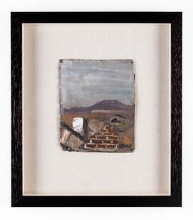 Simon Stone | Ruin + Landscape | 2019 | Oil on Cardboard | 38 x 33.5 cm
