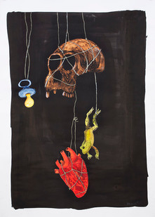 Colbert Mashile | The Prize | 2015 | Mixed Media on Paper | 137 x 99 cm
