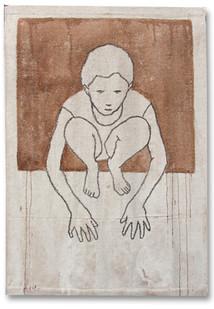 Valerio Berruti | Udaka B | 2012 | Fresco, Oil Pastel and Red Soil on Jute | 130 x 90 cm