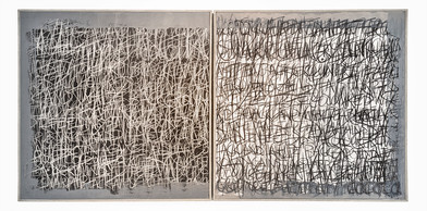 Rory Emmett | Reprise (diptych) | 2019 | Chalk, charcoal & gesso on canvas, resin & cement |120 x 120 cm