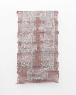 Pyda Nyariri   Residual Trace 202/ Brown, Blue   2021   Clay Slip, Cotton Gauze on Canvas   110 x 64 cm