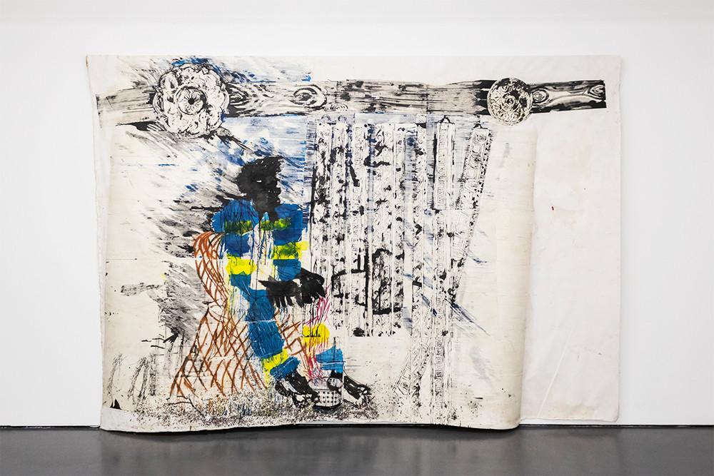 Gareth Nyandoro | Five star cornicis | 2019 | Ink on Paper Mounted on Canvas | 245.5 x 359 cm