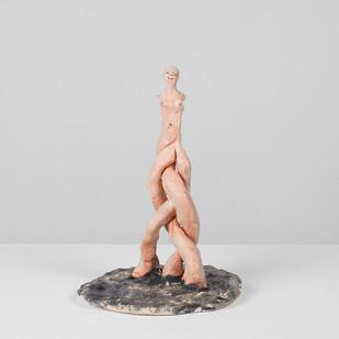 Marlene Steyn | Koeksister Sisters (moonwalker) | 2017 | Oil Paint on Ceramic | 19.5 x 15 x 14 cm