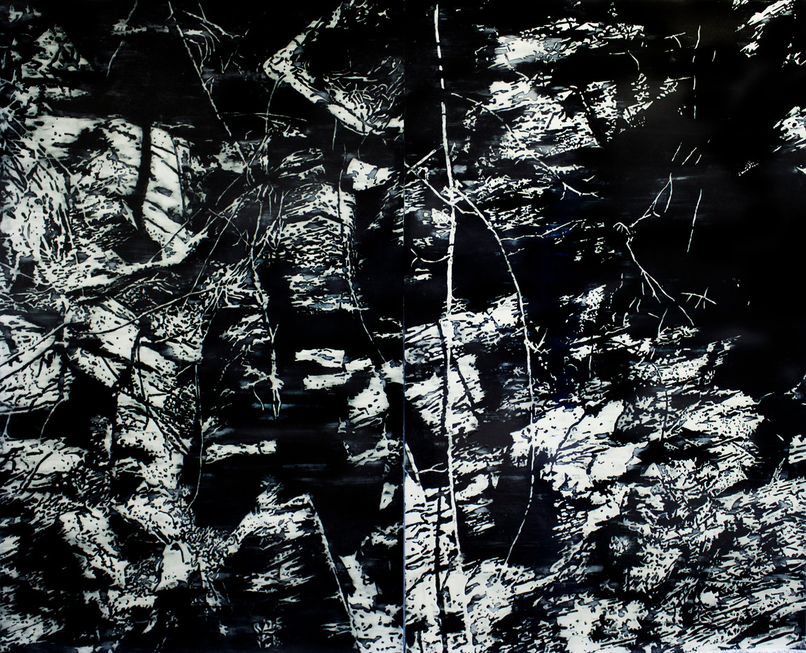 Peter Eastman | Buried in Black and White II (Diptych) | 2013 | Acrylic and Enamel on Aluminium | 215 x 130 cm Each