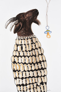 Colbert Mashile | The Pacified | 2015 | Mixed Media on Paper | 113.5 x 76.5 cm