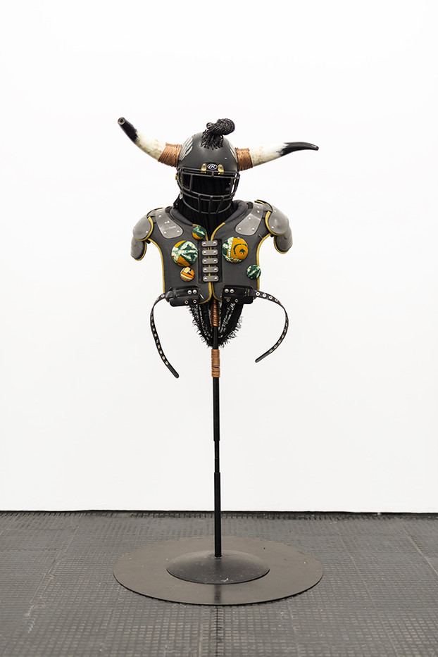 Masima Hwati   Sokunge 2   2019   Steel Pipe, Copper Tubing, Fabric and Found Objects   250 x 100 x 85 cm