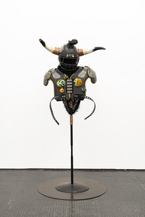 Masima Hwati | Sokunge 2 | 2019 | Steel Pipe, Copper Tubing, Fabric and Found Objects | 250 x 100 x 85 cm