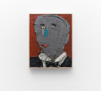 Georgina Gratrix | Grey Man, Blue Nose | 2017 | Oil on Canvas | 55 x 40 cm