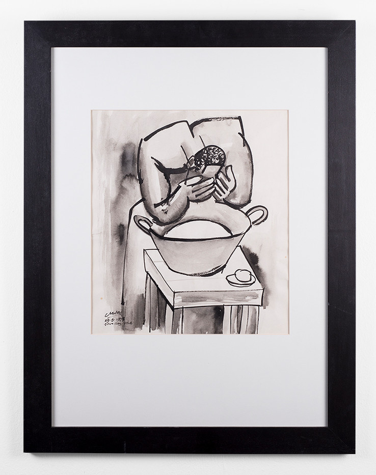 Peter Clarke | Cleaning Up | 1975 | Brush Ink and Wash on Paper | 38 x 33 cm