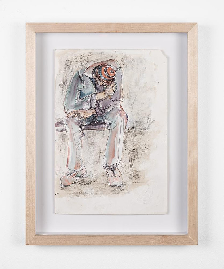 Lionel Davis | Asleep on the Train | 1990 | Watercolour on Paper | 29.7 x 21 cm