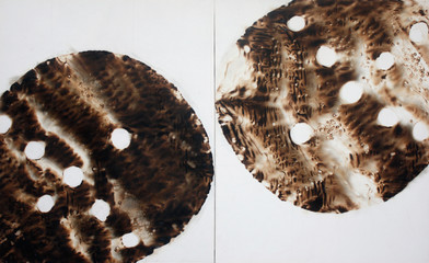 Sandile Zulu | Artoms Archetype Forms Case 5 | 2012 | Fire, Water, Air and Earth on Canvas | 135 x 220 cm