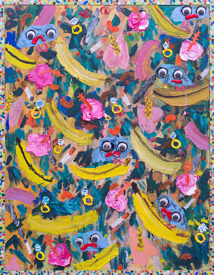 Georgina Gratrix | Gwaais & Eyes | 2017 | Oil on Canvas | 125 x 95 cm