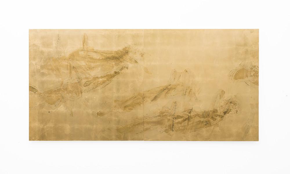 Pierre Vermeulen   Sweat print no. 19 (Diptych)   2018   Sweat, Gold Leaf Imitate, Shellac and Acrylic on Belgian Linen   102.5 x 200 cm