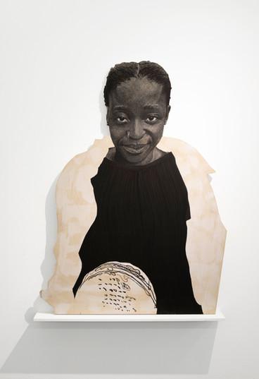 "Luyanda Zindela   ""I'm a fun time""   2021   Acrylic Paint Marker on Pine Board   170 x 100 cm"