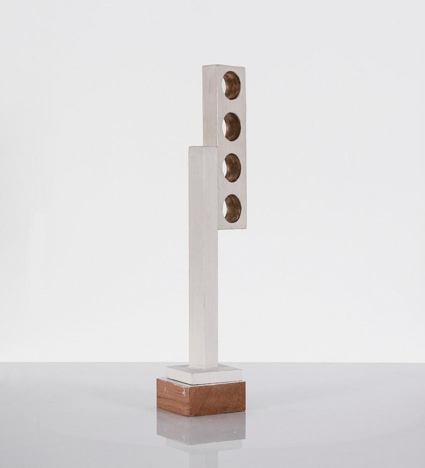 Helen A Pritchard | Free Form | 2014 | Enamel, Gesso, Wood, Gold Leaf | 54 x 10 x 10 cm