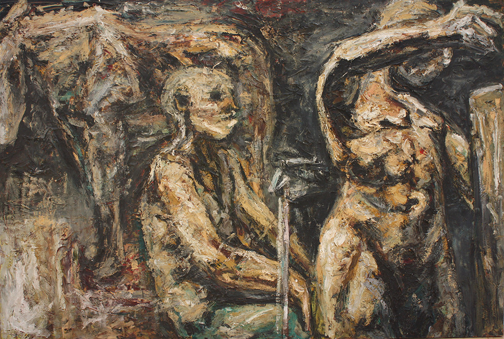Johann Louw | Figures with Horse | 1991 | Oil on Board | 122 x 174 cm