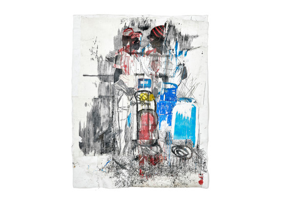 Gareth Nyandoro | LP Gas Station | 2018 | Ink on Paper, Mounted on Canvas | 297.5 x 233 cm