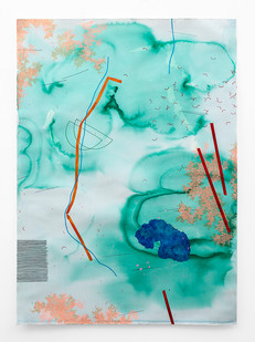 Mongezi Ncaphayi | Blue in Green | 2018 | Indian Ink, Watercolour and Acrylic on Cotton Paper | 140 x 100 cm