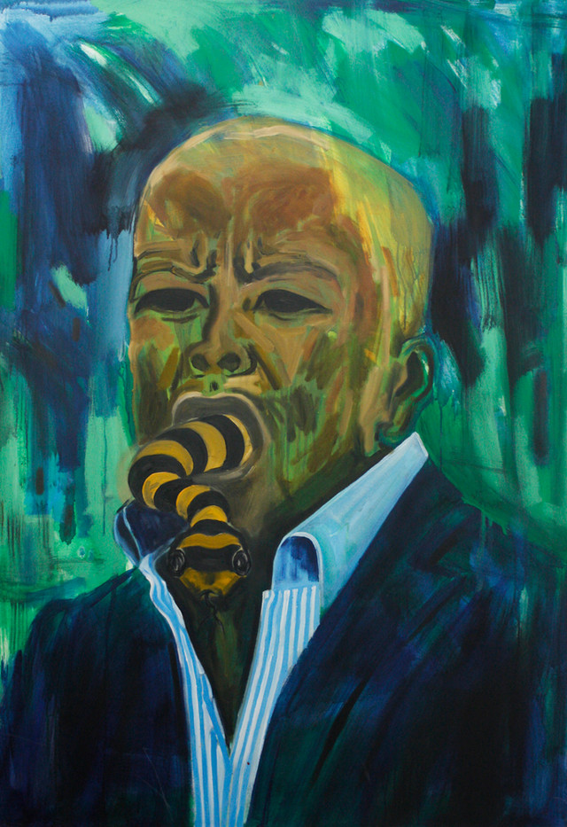 Themba Shibase | Vile Poetry II (from RSA Circus Series) | 2010 | Oil on Canvas | 140 x 100 cm