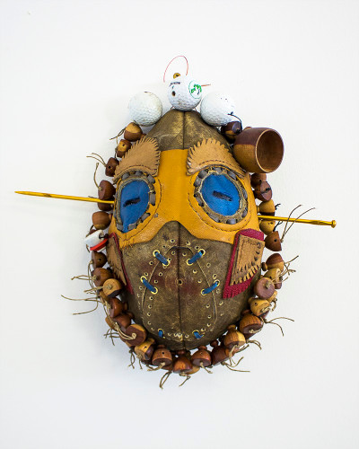 Masimba Hwati | Neo-tribal I | 2016 | Leather, Wood, Golf Balls | 33 cm