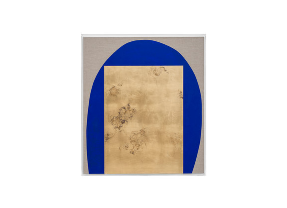 Pierre Vermeulen | Hair orchid sweat print, blue with grey | Sweat, Gold Leaf Imitate, Shellac and Acrylic on Belgian Linen | 92.5 x 82 x 6 cm