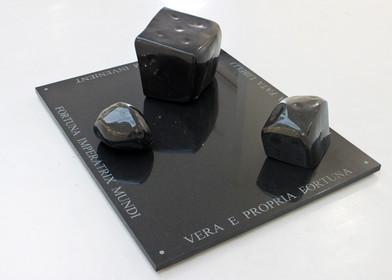 Willem Boshoff   Prehistoric Dice III   2013   Belfast Black Granite   126 x 100 x 40 cm   Edition of 3