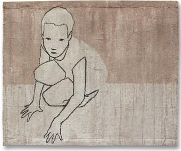 Valerio Berruti | Udaka 2 | 2012 | Fresco, Oil Pastel and Red Soil on Jute | 80 x 110 cm