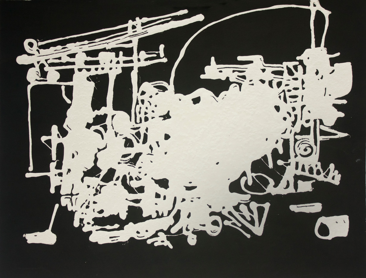 Michael Landy | Piano on Fire | 2006 | Oil Stick and Tipex on Paper | 30.5 x 40.5 cm