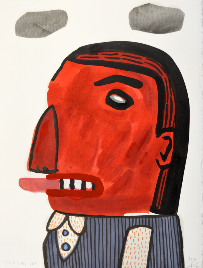Karlien De Villiers | Soentjies Vra | 2014 | Ink, Collage and Watercolour on Paper | 38 x 29 cm