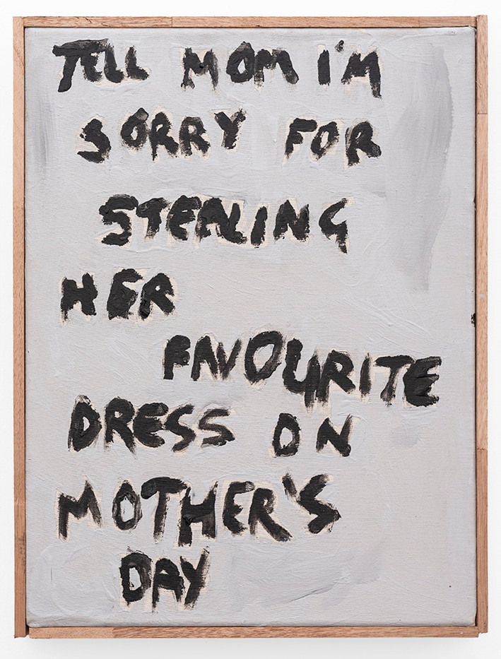 Brett Seiler | Tell Mom I'm Sorry | 2019 | Roof Paint on Canvas | 42 x 32 cm