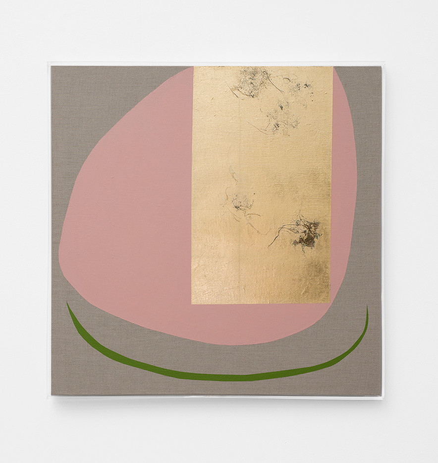 Pierre Vermeulen   Hair orchid sweat print, pink form with green   2018   Sweat, Gold Leaf Imitate, Shellac and Acrylic on Belgian Linen   105 x 90 cm