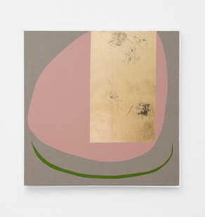Pierre Vermeulen | Hair orchid sweat print, pink form with green | 2018 | Sweat, Gold Leaf Imitate, Shellac and Acrylic on Belgian Linen | 105 x 90 cm