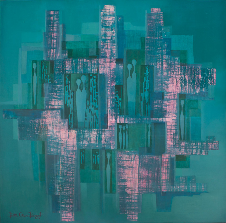 Bettie Cilliers-Barnard | Abstract with Figures | 1974 | Oil on Canvas | 150 x 150 cm