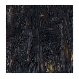 Galia Gluckman | cellular state | 2019 | Construction with Canvas Textured Paper Acrylic and Bonding Tape on Board | 85 x 85 cm