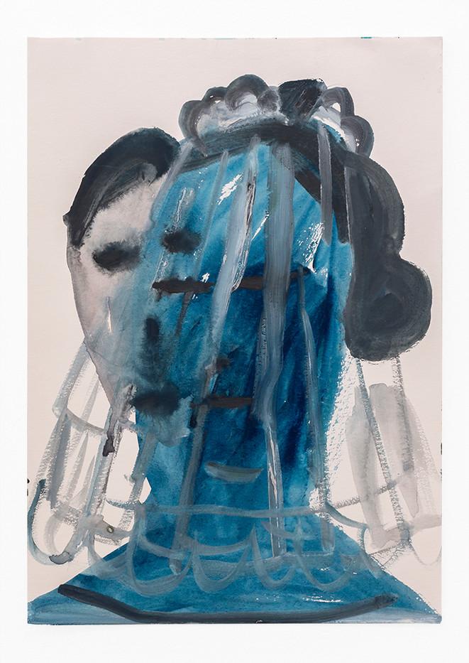 Georgina Gratrix | Blue Bride | 2020 | Watercolour on Paper | 41.7 x 29.5 cm