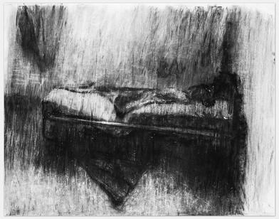 Johann Louw | Bed (Ouvloer) | 2014 | Charcoal on Paper | 125 x 162 cm