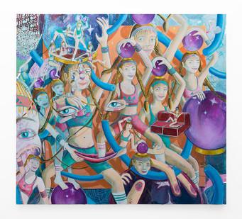 Marlene Steyn   her fortune tell her fitness club   2018   Oil on Canvas   200 x 220 cm