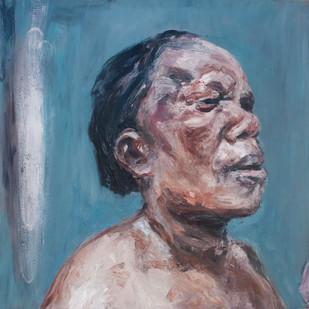 Johann Louw | Portret - Sy Aansig | 2013 | Oil on Plywood | 123 x 120 cm