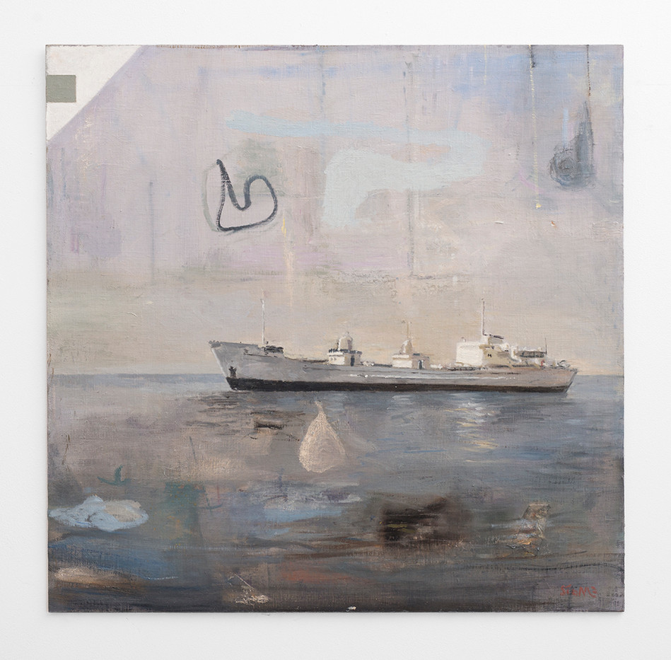 Simon Stone | Ship | 2017 | Oil on Board | 102 x 102 cm