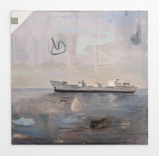 Simon Stone | Ship | 2017 | Oil on Board | 102 x 102 cm