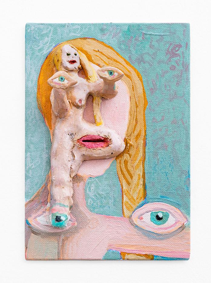 Marlene Steyn | Face Yoga | 2018 | Oil on Ceramic and Canvas Board | 20 x 15 cm