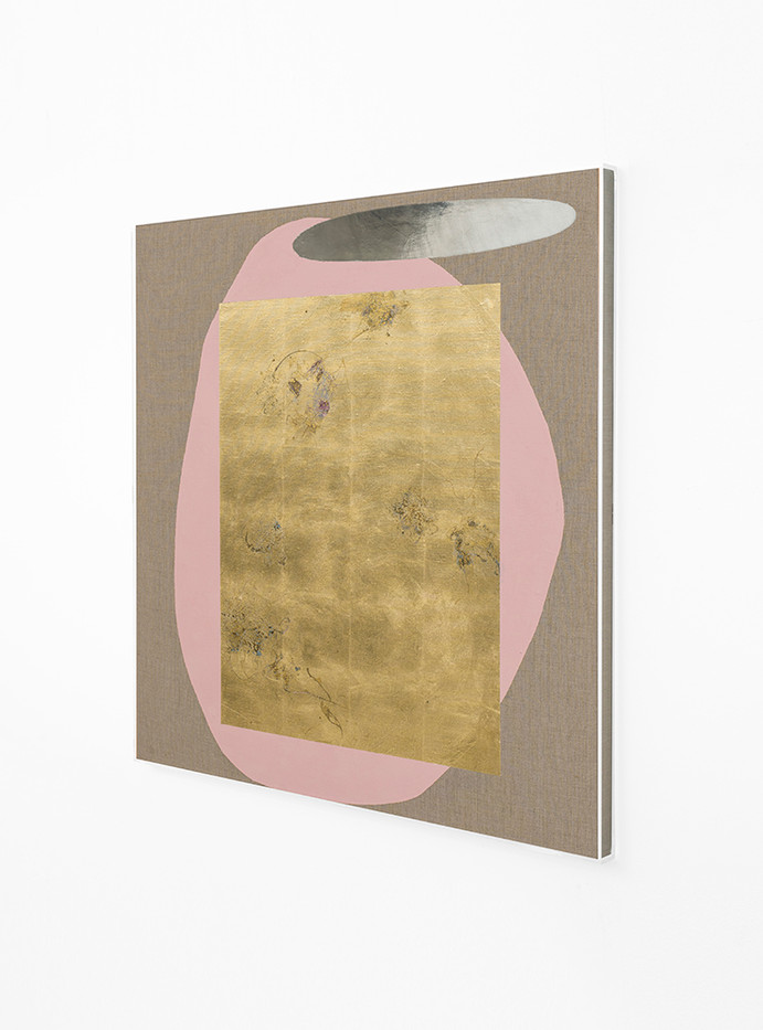 Pierre Vermeulen | Hair orchid sweat print, pink with mirror pool (Side View) | 2018 | Sweat, Gold Leaf Imitate, Shellac and Acrylic on Belgian Linen | 105.5 x 90 cm
